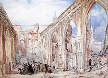 George Balmer (c.1806-1846) Remains of the House of Commons after the fire in November 1834, 10 x 14in.