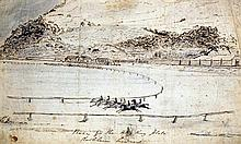 English School c.1850 Early view of Hong Kong racecource; Race for the Hong Kong plate, 6 x 9.75in., unframed