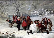 William Hemsley (1819-1893) Children building a giant snowball, 10 x 14in.