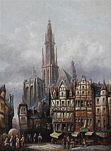 Henry Schaffer (fl.1865-1890) French town scenes, 16 x 12in.