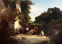 Edward Charles Williams (fl.1839-1865) Donkey cart beside a well, 21.5 x 30.5in.