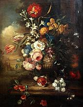 Continental School Still life of flowers in a vase upon a ledge, 30 x 24in.