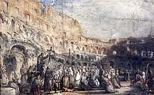 James Orrock (1829-1913) Pilgrims in the Colosseum, Rome, 12 x 20in.