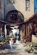 Gardon Grant Smith (1860-1913) 'Fuenterrabia, Spain 1894' and 2 street scenes, largest 13.5 x 9.5in.