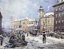 Carl Wenzel Zajicek (1860-1923) Market scene in winter on the Sreyung in Vienna, 5.5 x 7.5in.