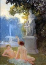 Albert-Auguste Fourie (1854-1937) Parkland scene with female nudes, 8.5 x 6in.