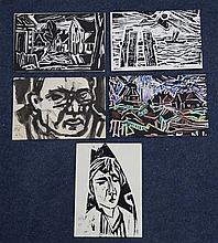 Willy Robert Huth (German, 1890-1977), ink wash postcard portrait & four linocut postcards
