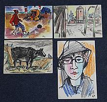 Willy Robert Huth (German, 1890-1977), four watercolour postcards, cow, boy with football, portrait (Ruth Huth) & industrial landscape