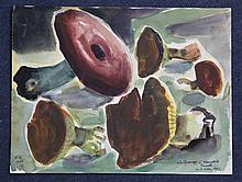 Willy Robert Huth (German, 1890-1977), two watercolours, fishing boats and mushrooms