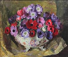 Modern British Still life of peonies in a bowl, 20 x 24in.