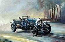§ Dion Pears (1929-1985) Le Mans 1927 Sammy Davies driving the winning 3 litre Bentley, 24 x 36in.