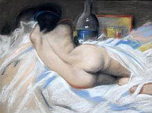 Charles Perron (French, 1893-1958) Reclining female nude, 13 x 17.75in.