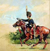 William Nassau (1926-2001) Officer of the 11th Hussars, 15.25 x 15.25in.