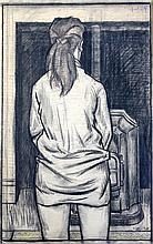 § Clifford Hall (1904-1973) Girl standing before a stove, 25 x 16.25in.