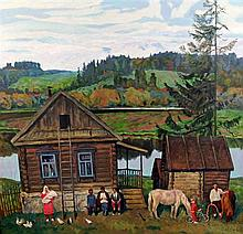 Russian School Landscape with villagers in the foreground, 33.5 x 33.5in.