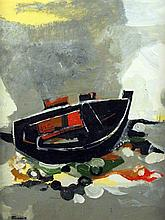 Andre Minaux (1923-1986) Beached fishing boat, 30 x 22.5in.