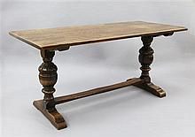 A Jacobean revival oak refectory table, 5ft 6in. x 2ft 6in. x 2ft 6in.
