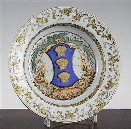 A Chinese export famille rose soup plate, c.1735, 8.75in.