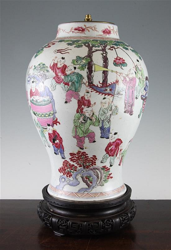 A Chinese famille rose baluster vase,