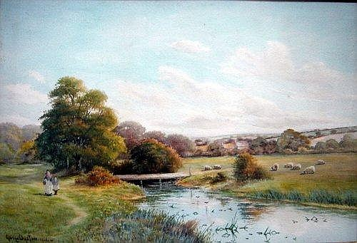 George Oyston (c.1860-?) River landscapes with figures and sheep, 14 x 20 ins.