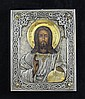 A 19th century Russian style icon of Christ Pantocrator, 8.75 x 7in.