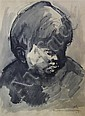 Sir Kyffin Williams (1918-2006) Head study of a boy, 15.5 x 12.25in.