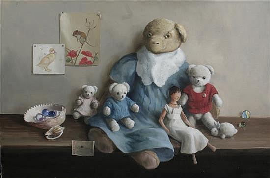 Deborah Jones (b.1921-) Teddy bears on a shelf, Unframed, 20 x 30in.