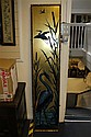 A rectangular aesthetic style reverse painted and gilded glass panel, 5ft 10ins x 14.75ins