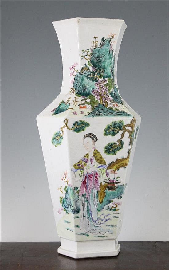 A Chinese famille rose hexagonal baluster vase