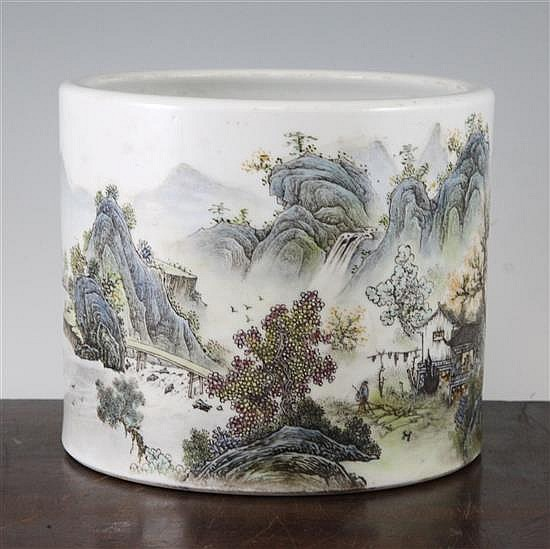 A Chinese famille rose brush pot, Bitong