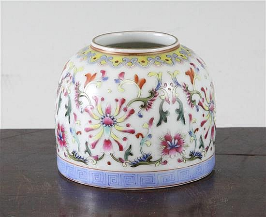 A Chinese famille rose beehive brush washer
