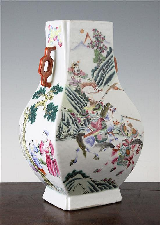 A Chinese famille rose 'hu' vase, 19th century, 10.75in.