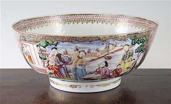 A Chinese mandarin pattern famille rose bowl