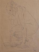 § Duncan Grant (1885-1978) Crouching female nude, 13.25 x 10.5in.