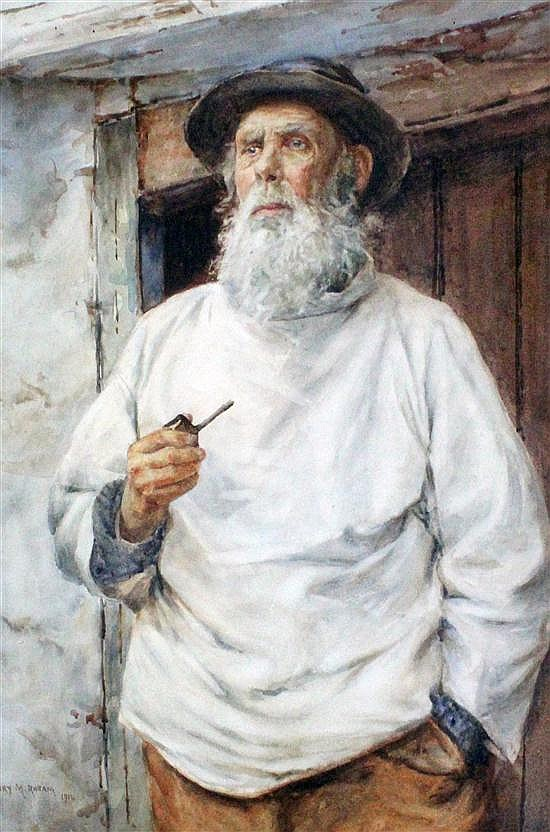 Henry Maynell Rheam (1859-1920) The Old Fisherman, 21 x 14.5in.