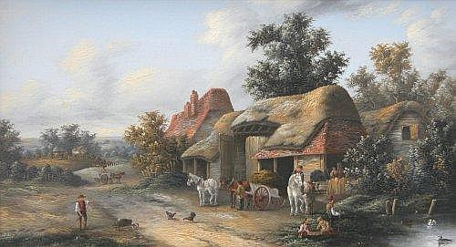 Edwina Lara (19th Century) Village Scene, Basingstoke , oil on canvas, a pair