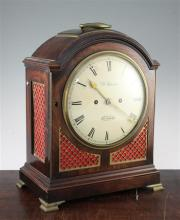 A George III brass mounted mahogany hour repeating bracket clock, 16in.