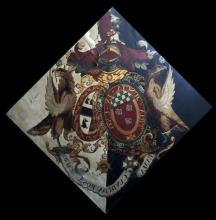 An early 19th century hatchment, oil on canvas, decorated with the arms of Lt. Gen. Sir Herbert Taylor, GCB, GCH, diagonally 70 x 70in.