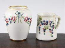 William Moorcroft Macintyre - an 18th century pattern jar and an early Leaf and Berry mug, 11.5cm and 9cm, mug damaged