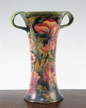 A William Moorcroft Spanish pattern tall two handled vase, c.1917, 27cm, section of foot restored