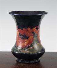 A William Moorcroft Big Poppy pattern waisted baluster vase, c.1924, 18cm