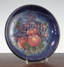 A Moorcroft Finches pattern baluster vase and a similar dish, post-war, 19.5cm and 17cm