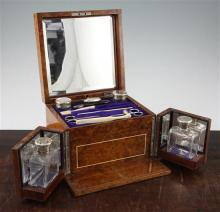 A George V burr walnut and ivory strung toilet box, 8.5in.