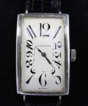 A gentleman's stylish 1930's silver Longines manual wind wrist watch,