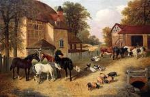 John Frederick Herring Jnr (1815-1907) Farmyard scene with horses, cattle, pigs and poultry, 20 x 30in.