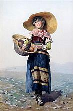 Domenico de Angelis (1852-1904) Peasant girl carrying a basket of fruit, 20 x 14in.