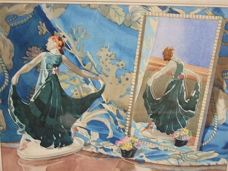 Hugh Adair Lynch - watercolour, still life, reflection of a Goldscheider figure