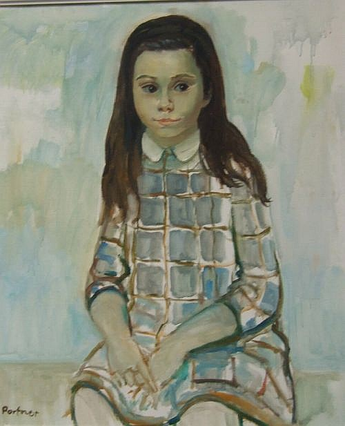 Alex Portner (b. 1920) - oil on canvas, portrait of a young girl