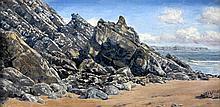 John Brett (1831-1902) Coastal view, 6.5 x 13.5in.