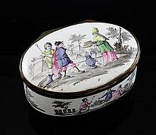 A late 18th/early 19th century oval enamel snuff box, 3.5in.